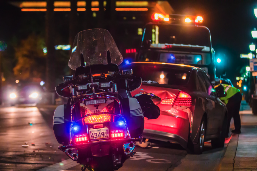 A pulled over car accident at night