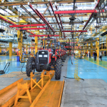 Manufacturing assembly line for tractors